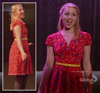 Quinn's red floral dress and yellow belt on Glee