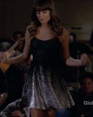 Rachel Berry's black and silver sequin glitter dress on Glee