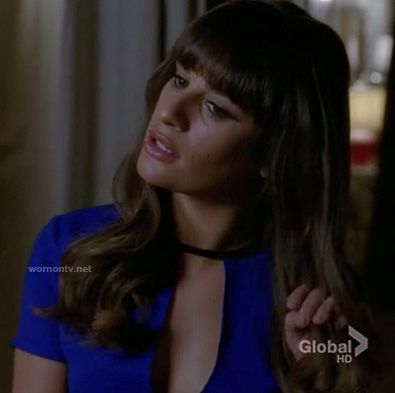 Rachel's cobalt blue keyhole top on Glee