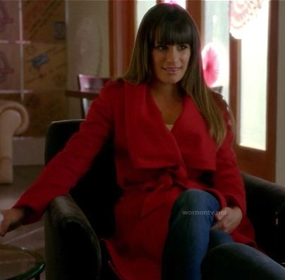 Rachel Berry's red wrap coat on Glee