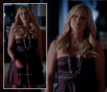 Rebekah's dark leopard print strapless dress on The Vampire Diaries