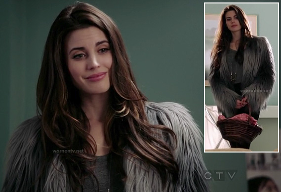 Reds blue grey ombre fluffy coat on Once Upon A TIme