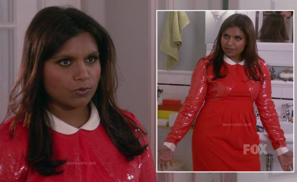 Mindy's red and white sequin dress with peter pan collar on The Mindy Project