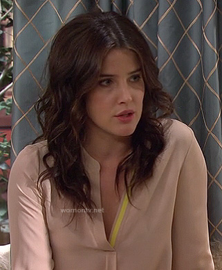 Robin's beige blouse with yellow trim on HIMYM