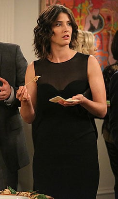 Robin's black sheer dress with peplum waist on How i Met Your Mother
