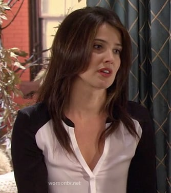 Robin's black and white colorblock shirt on How I Met Your Mother