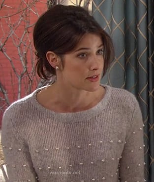 Robin's grey pearl bead sweater on How I Met Your Mother