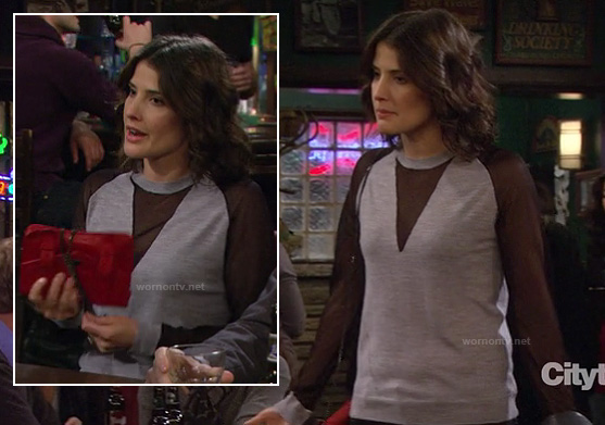 Robin's grey sweater with black sheer sleeves and triangle insert and red purse on How I Met Your Mother