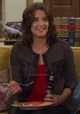 Robin's grey tweed jacket with leather trim on HIMYM
