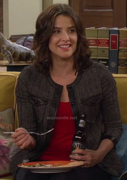 Robin's grey tweed jacket with black leather trim on How I Met Your Mother