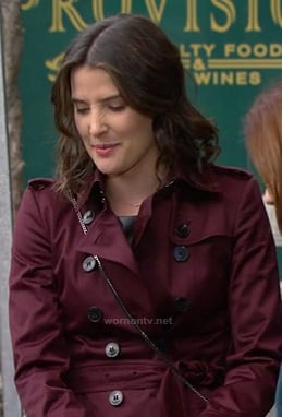Robin's red/burgundy/wine satin trench coat on How I Met Your Mother