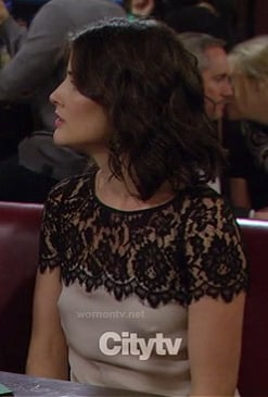 Robin's black lace yoke top on How I Met Your Mother