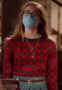 Rose's red spot print sweater and denim skirt on Hart of Dixie
