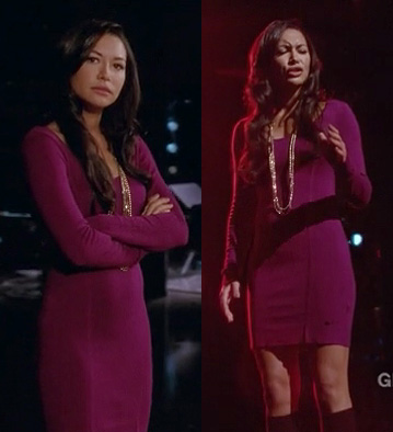 Santana's purple/magenta long sleeve bodycon dress with crossover back on Glee