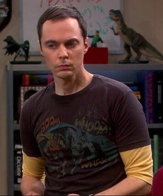 Leonard's white recycle logo shirt on The Big Bang Theory