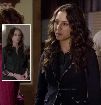 Spencer's black blazer with patterned trim and green polka dot shirt with plaid collar and cuffs on Pretty Little Liars