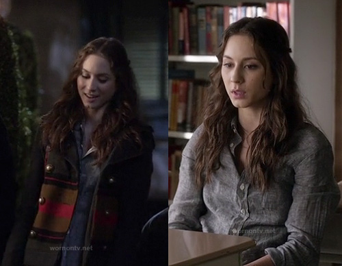 Spencer's grey striped coat on Pretty Little Liars