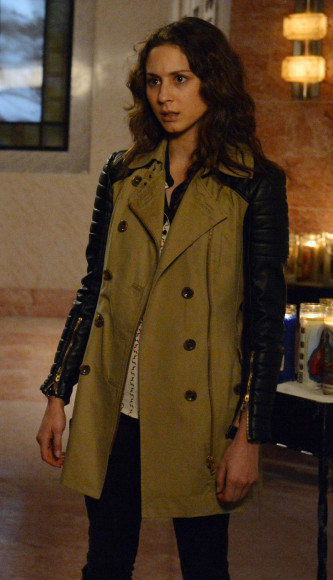 Spencer's trench coat with black leather sleeves on PLL