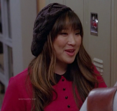 Tina's pink and black peter pan collar dress on Glee