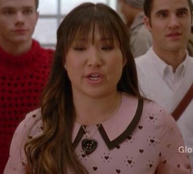 Tina's pink collared heart print dress on Glee