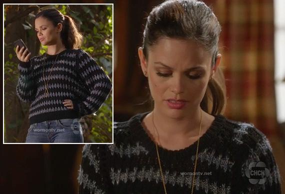 Rachel Bilsons grey and black striped knitted sweater on HArt of Dixie