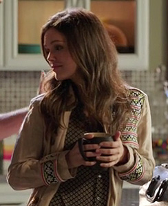 Zoe's cream trench coat with embroidery on Hart of Dixie