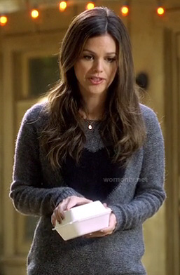 Rachel Bilsons grey and black heart sweater on Hart of Dixie