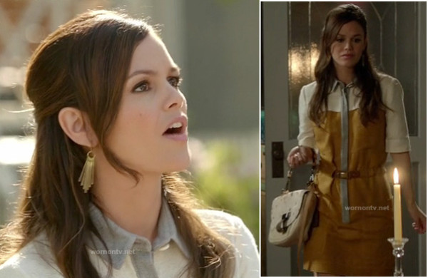 Zoe Harts yellow and grey shirtdress on Hart of Dixie