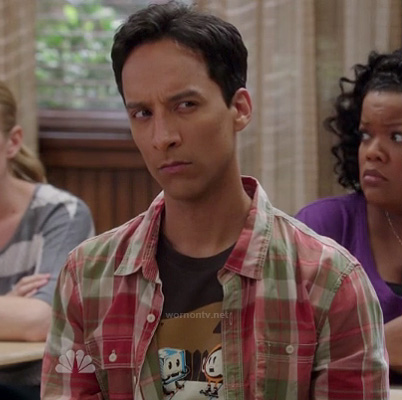 Abed's ice cube flame tee on Community