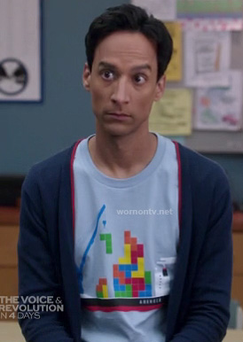 Abed's blue tetris tee on Community
