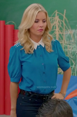 Alex's turquoise blue blouse with studded shoulders and white collar on Happy Endings
