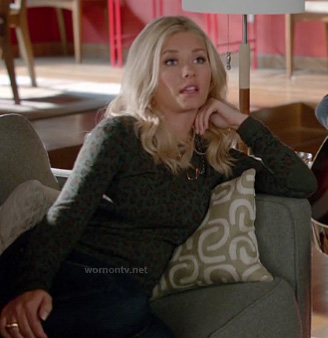 Alex's dark green leopard sweater on Happy Endings
