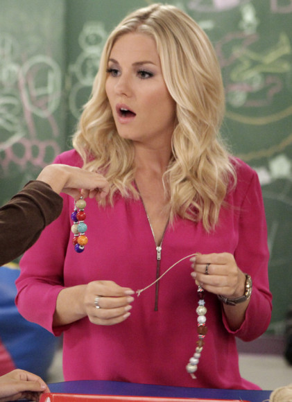 Alex's hot pink top with zip front on Happy Endings