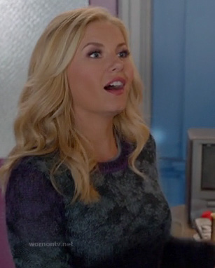 Alex's purple and grey ombre sweater on Happy Endings