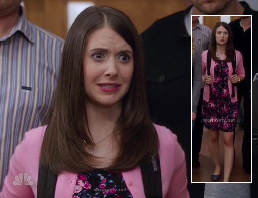 Annie's black and pink floral dress with pink cardigan on Community