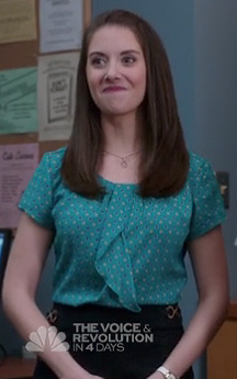 Annie's green polka dot top on Community