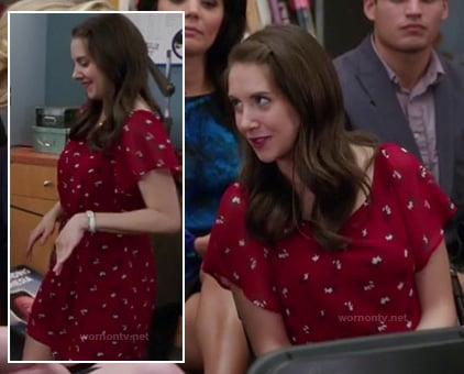 Annie's red flutter sleeve dress on Community