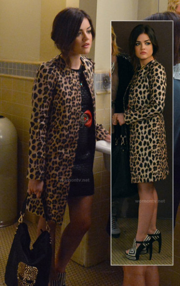 Aria's leopard coat and black and white printed heels on PLL