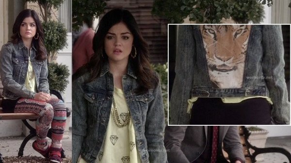 Aria's denim jacket with tiger on the back on PLL finale