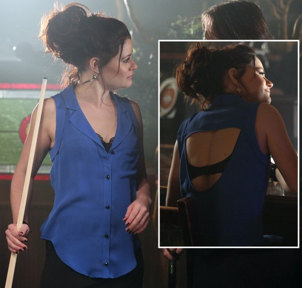 Belle/Lacey's blue backless top on OUAT