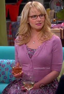 Bernadette's purple floral dress and cardigan on The Big Bang Theory