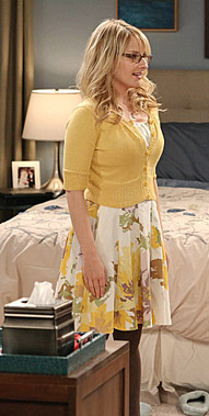Bernadette's yellow and white floral dress on the Big Bang Theory