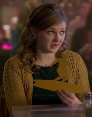 Boo's yellow cable knit cardigan on Bunheads