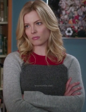 Britta's grey and red colorblock sweater on Community