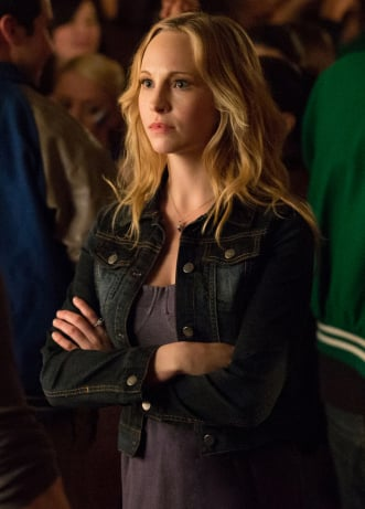 Caroline's bustier dress and denim jacket on The Vampire Diaries