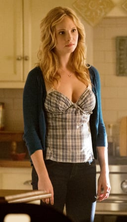 Caroline's plaid cami/top on The Vampire Diaries