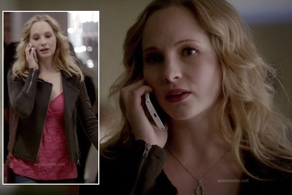 Caroline's pink lace top, black zip jacket and wishbone necklace on The Vampire Diaries
