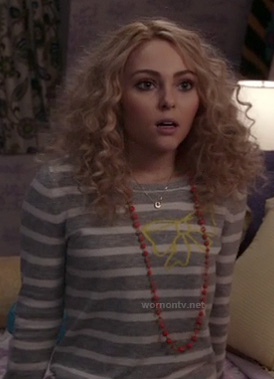 Carrie Bradshaw's grey striped sweater with bow on The Carrie Diaries