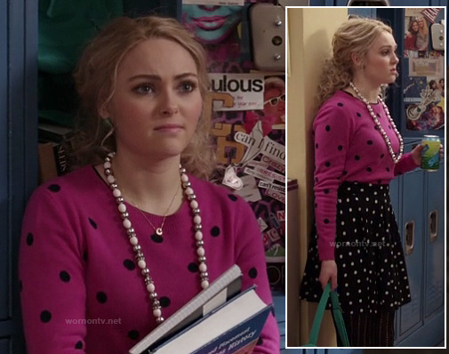 Carrie's pink polka dot sweater and skirt on The Carrie Diaries