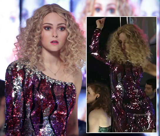 Carrie's pink sequinned one shoulder/sleeve dress on The Carrie Diaries